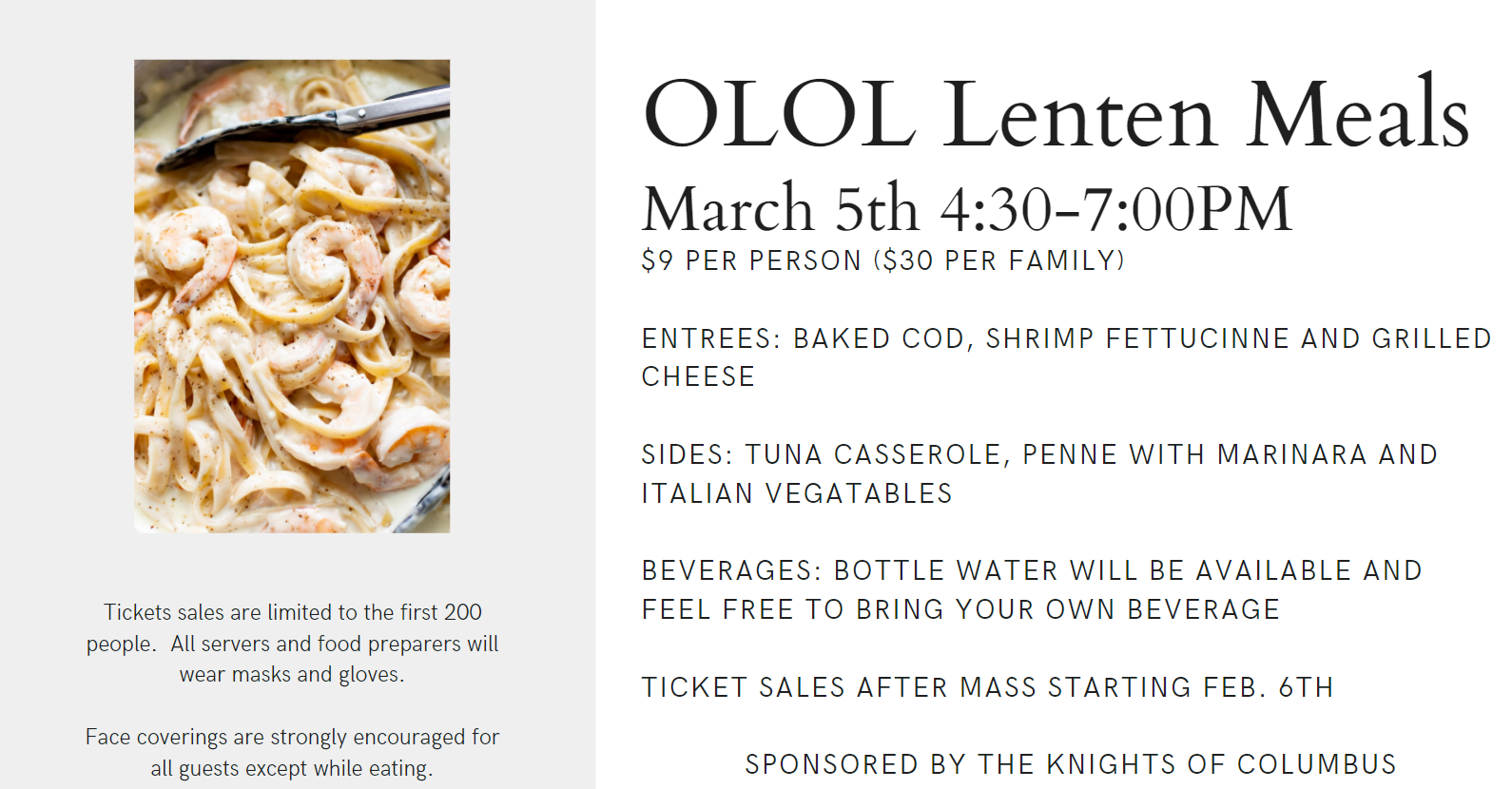 OLOL Lenten Meal Tickets On-Sale Now